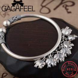 Braccialetto d'argento elefante all'ingrosso online-GAGAFEEL S925 braccialetti in argento sterling di buon auspicio elefante braccialetti gioielli vintage per le donne signore all'ingrosso