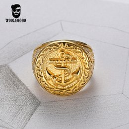 stainless steel anchor rings Promo Codes - WooLeGoGo Punk Biker Anchor Signet Rings for Men 316L Stainless Steel Luxury Gold Rings Vintage Mens Jewelry Ring Bagues Homme