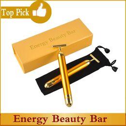 refa face massager Скидка Energy Beauty Bar 24K Золотой Импульсный Укрепляющий Массажер Роликовый Массажер для Лица Derma Skincare Средство от Морщин