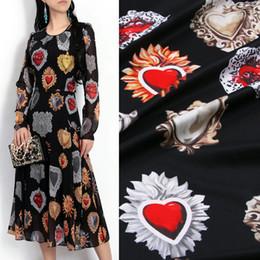1 Meter Schwarz Edelstein Gedruckt Chiffon Stoff Frauen Kleid Material DIY Kleidung Polyester Tissu Au Meter von Fabrikanten
