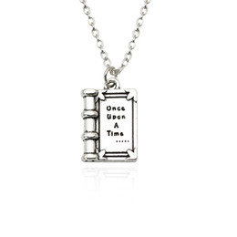 """Wholesale mini magic fairy - Fashion 3D Mini Fairy Tales Book Charm Pendants Necklace Carved """"once upon A Time"""" Magic Book Necklaces For Children Collier"""