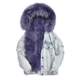 6b88e9746e015 Y 2018 winter jacket women parka real fur coat natural fox fur collar loose  bomber denim jacket vintage fashion streetwear