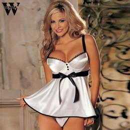 Wholesale Sexy Babydoll Dresses For Women - 2018 nightdress for women solid sleeveless White babydoll Dress Sleepwear Nightwear Underwear JAN10