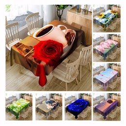 pano de mesa de natal roxo Desconto Rose 3d toalha de mesa de microfibra de poliéster poliéster festa de mesa de café rodada retangular tampa da tabela à prova d 'água casa decorativa