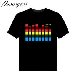 Wholesale Rock Led Lights - LED Sound Activated Tshirt Flash Light Up EL Equalizer LED Man T-Shirt for Bar DJ Rock Disco Fantastic