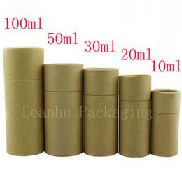 Paquetes de papel marrón online-Caja de empaquetado de botella de cuentagotas de vidrio Caja de empaquetado de papel de Kraft Cajas de cartón redondo pequeño Caja de tubo de regalo reciclable de Brown