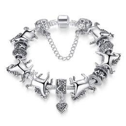 Wholesale animal jewellery beads - Tibetan Silver Animal Charm Bracelet Women With Charmilia Glass Beads Fashion Jewellery For Gift Free Shipping