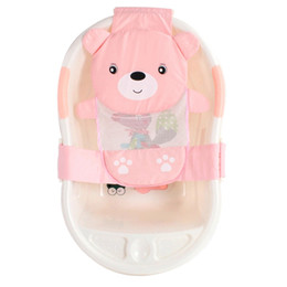 infant cradles Promo Codes - Baby Infant Bear T-Shaped Slippery Bath Bed Net Antis Kid Bathtub Bath Shower Cradle Bed Seat Net PP And Cotton Baby Tub