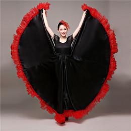 2019 robe de bal en satin rouge Tauromachie espagnole Danse De Flamenco Jupe Salle De Bal Art Style Femmes Robe De Satin Gypsy Rouge Scène Porter Costume De Performance robe de bal en satin rouge pas cher