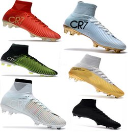Wholesale Brown Leather Boots Sale - Cheap Soccer Shoes Mercurial Superfly FG High Quality 2017 ACC CR7 Football Shoes For Sale Cleats Cheap Sports Boots Size 35-45