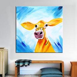 Animaux de verre modernes en Ligne-Peint à la main abstrait animaux verre drôle peinture à l'huile de vache sur toile de haute qualité moderne Home Decor Wall Art a118