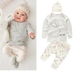 Wholesale Boy S Briefs - New baby summer bunny newborn boy girl bodysuit hat romper T-shirt pants outfits sets infant rabbit T-shirt+pant+hat 3pcs set outfits