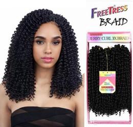 Wholesale Freetress Synthetic Hair - Ombre braiding hair bundles crochet braids freetress bohemian braid crochet synthetic braiding hair ombre burgundy kinky curl weaves USA