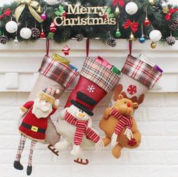 Venta caliente de Navidad de Santa Claus Calcetines Bolsa de Regalo de Navidad Muñeco de nieve Calcetines adornos Decoraciones Colgante de Navidad Elk Suministros Regalos de Boda desde fabricantes