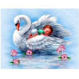 Wholesale Paints Baby - Lovely Baby White Swan 5D DIY Mosaic Needlework Diamond Painting Embroidery Cross Stitch Craft Kit Wall Home Hanging Decor