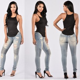 Wholesale High Waisted Womens - Ripped Sexy Skinny Jeans Womens High Waisted Slim Fit Denim Pants Slim Denim Straight Biker Skinny Ripped Pencil Pants