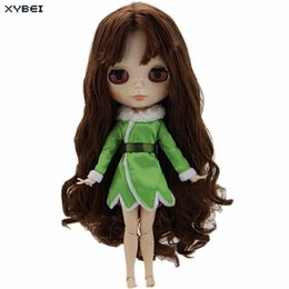 "Wholesale Blythe Dolls - Fashion Cute Green Dress Winter Long Sleeves Outfit Wedding Party Skirt Clothes For Blythe Doll 11"" 11.5"" Puppet DIY Accessories"