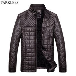 Wholesale Jacket Leather Man Pilot - Wholesale- Winter Pilot Leather Jacket Men 2017 Casual Stand Collar PU Leather Mens Jackets Coats Slim Fit Quilted Jacket Chaquetas Hombre