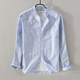 La marca de Suehaiwe camisas de lino de manga larga hombres camisa azul sólido  para hombre de negocios de moda y camisa casual camisa masculina de marca e0de85fb536c1