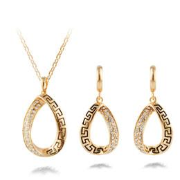 Gold mode brautschmuck sets online-Vintage African Kristall Schmuck Sets für Frauen Fashion Punk Hochzeit Frauen Braut Accessoires Ohrring Halskette Set