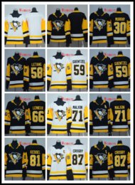 Women new 2018-2019 Stitched Penguins  87 CROSBY  71 MALKIN  30 Murray  59  GUENTZEL  58 Letang  81 KESSEL White Black Hockey Jerseys Ice d554203e7