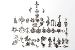 Wholesale Cross Charms Holes - New 100pcs lot 5mm Hole-diameter Mix Styles Loose Beads Charm DIY Jewelry Accessory Pendant For Keyring Bracelet Necklace