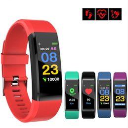 cor relógios inteligentes Desconto Fitbit ID115 Além disso Inteligente Banda Cor do bracelete tela LCD de Fitness Rastreador pedômetro Heart Rate sangue Bandas monitor de pressão relógio pulseira