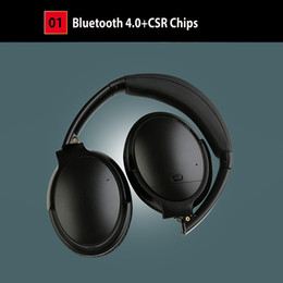 Wholesale Foldable Stereo Headphones - Wireless Headphones V12 Foldable Headband Bluetooth Headphone with mic free-hands call noise cancelling ANC Headphones Headsets pk QC35