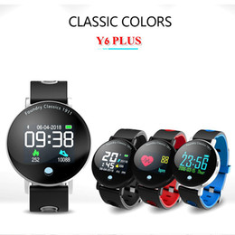 chronomètre sport chronomètre Promotion Y6 Plus Smartwatch Pression artérielle Chronomètre Chronomètre Mode Sport Smart Watch Hommes Femmes Ronde Big Display Bracelet