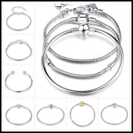 Wholesale Golden Rose Gift - 10 Designs 925 Sterling Silver Rose Golden 3mm Chains for European Beads 20cm Bangle Bracelets DIY Jewelry Link