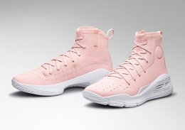 Wholesale massage 18 - Women Curry 4 flushed pink valentines day men kids shoes for sale Top Quality Stephen Curry Sports shoes store free shipping size36-46