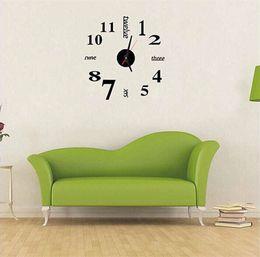 relojes de pared de acrílico Rebajas Reloj de pared 3D DIY Número Inglés Relojes de interés de la personalidad Eco Friendly Acrílico Negro Mini Arte moderno Decoración del hogar 15jf bb