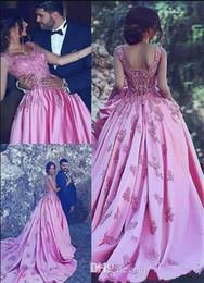 Abendkleid zurück drapieren zug online-Dubai Saudi Arabischen Abendkleider mit Zug Spitze Appliques Drapierte Satin Luxus Schöne Verlobungs Kleider Zipper Zurück Neue Ankunft 2018