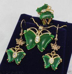 Ожерелье кольцо набор бабочка онлайн-Ювелирные изделия 18K GP бабочка зеленый нефрит ожерелье серьги кольцо setfree доставка