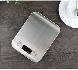Precisión plana online-Escala de cocina de acero inoxidable de múltiples funciones de alta precisión plana inteligente escalas electrónicas digitales gadget creativo herramientas de medición 19zd jj