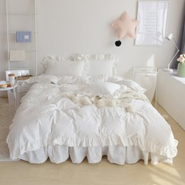 Wholesale Girls Pink Duvet - 4 3Pcs White Pink color korean style Bedding set king queen twin size double single girls bed set duvet cover bedskirt