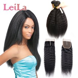 Wholesale Natural Yaki Hair Piece - Indian 100% Unprocessed Human Virgin Hair Yaki 3 Bundles With 4 X 4 Lace Closure 4 Pieces Kinky Straight Bundles With Lace Closure