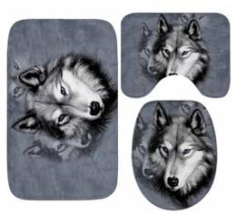 cuscini di posti a sedere Sconti Tappetino per il bagno Set Tappeto per il pavimento modello Wolf Tappeto antiscivolo per assorbimenti d'acqua Cuscino Sedile per WC Tappetino da bagno per la decorazione domestica