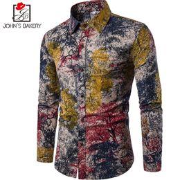 Wholesale Flax Dress L - New Brand Clothing 2018 Fashion Print Shirt Male Flax Casual Dress Shirts Slim Fit Turn Down Men Long Sleeve Men S Hawaiian Shirt Big Sizes
