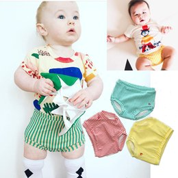 Wholesale boy s briefs - New Baby Summer Briefs 100% Cotton Girl Boy Shorts Stripes Bakery Pants Elastic Band Breathable 12M-4T