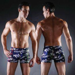 Wholesale Tight Swim Trunks Men - Sexy Men 2017 New Men's Swimming Trunks print Beach Surf Board Boxer Shorts Men Tight Swimsuits Briefs