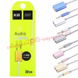 Wholesale pc audio splitter - Splitter Adapter 1 Male to 2 Female Audio earphone Splitter Adapter 3.5mm Double Jack Splitter Cable for iPod iPhone 7 6 5 Mp3 Mp4 Pc
