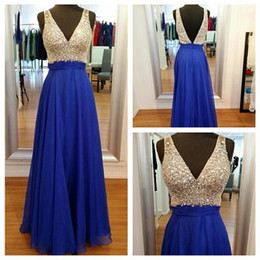 Wholesale Classy Backless Dresses - Classy V-Neck Long Chiffon Long Prom Dresses Hand Made Royal Blue Prom Gowns Formal Party Gown Evening Dress robe de soiree