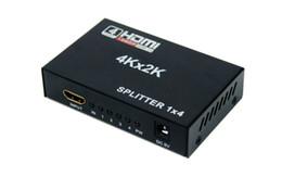 Wholesale hd plugs - Full HD HDMI Splitter 1080p 4Kx2K 3D 1 in 4 out 1x4 Port US EU Plug 3D
