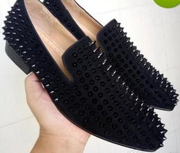 Wholesale black suede dress shoes - COOL TIRO Toafers Top Quality Red Bottom Men Women Shoes Fashion Black Suede With Black Spikes Loafers Rivets Casual Dress Shoes Flats Black