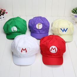 Wholesale Super Mario Bros Caps - 5 style cartoon Super Mario Bros Cotton hat luigi Cap L Anime Cosplay Wario Waluigi Xmas Gift