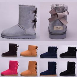 botas de invierno en línea Rebajas UGG boots Factory Hot WGG Mujer Australia Botas de cuero de moda de mujer Café Gris Rojo Negro Castaño Invierno Tobillo Media Rodilla Botas venta en línea