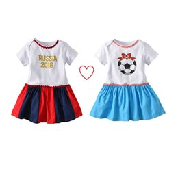 world dresses Coupons - Hot Kids World Cup Dress Baby Bodysuit Girls Cute Short Sleeve Dresses Sweet Baby Girl Clothing