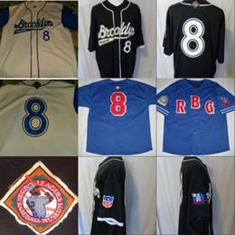 2019 xxl kleid # 8 Brooklyn Bekleidung Negro League BaseBal Jersey 100% genäht Custom Baseball Trikots Jeder Name eine beliebige Nummer S-XXXL rabatt xxl kleid