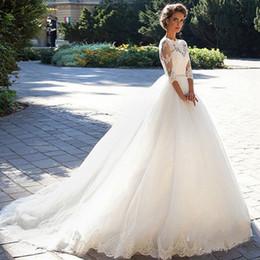 brides dresses sale 2018 - Wedding Dress 2017 New U-neck Lace Applique Waist Decorative Zipper Fake Buckle Trailing Bride Dress Hot Sale